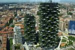 The skies are green; apartment blocks with treetops.